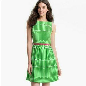 NWT Trina Turk Kelly Dress Green with pink belt 10